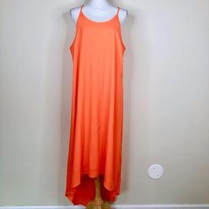 Old Navy Bright Orange High Low Maxi Sun Dress